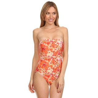 Dippin' Daisy's Orange Floral Strapless One Piece Missy Bathing Suit