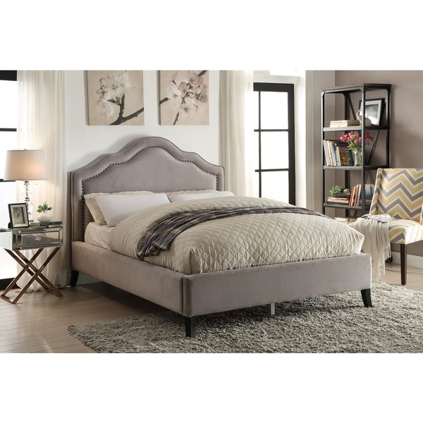 Bellagio Queen Platform Bed With Nail-head Detail Grey