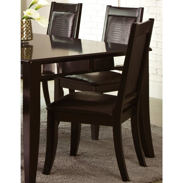 Armonia Black Crocodile Embossed Upholstered Dining Chairs (Set of 2)