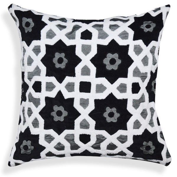Black/ White Floral/ Geometric Pattern Cotton 20-inch Throw Pillow