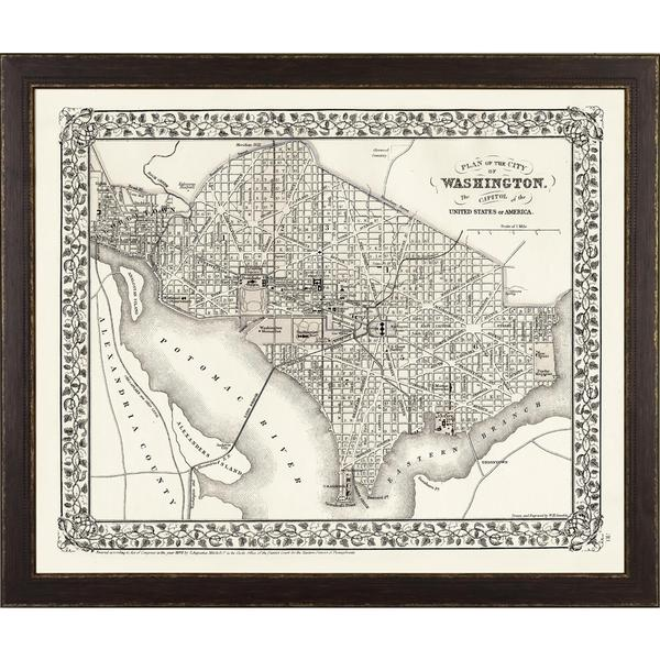 Vintage Framed City Map of Washington D.C