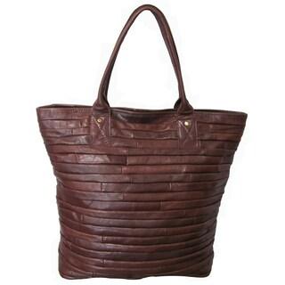 Amerileather 'Rozaly' Brown Leather Handbag