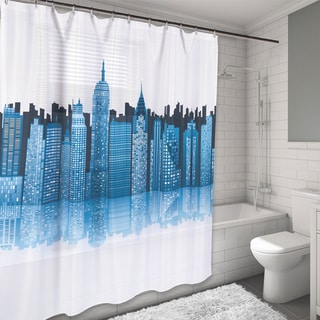 New York City Skyline Printed Water Resistant Fabric Shower Curtain - Multi-color