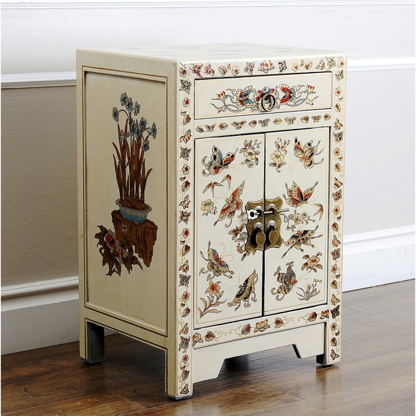 Antique Asian Butterfly Cream Side Table