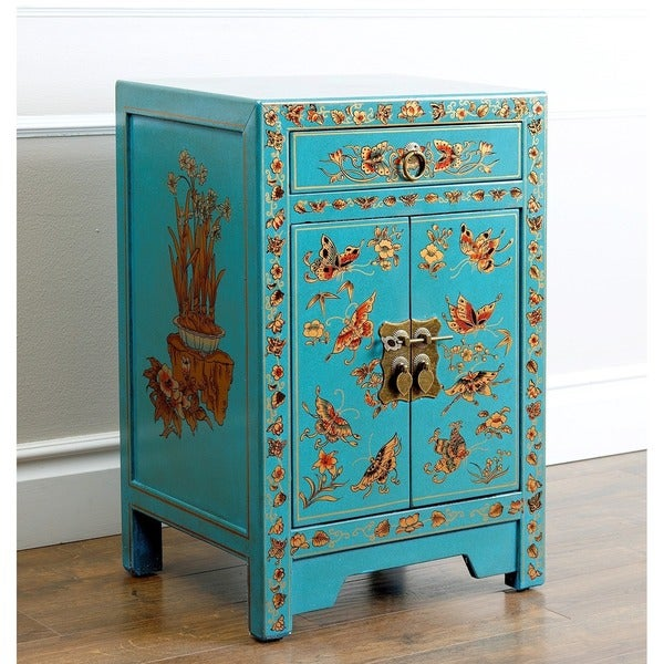 Antique Asian Butterfly Teal Side Table