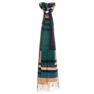 Burberry Colour Block Giant Check Cashmere Scarf