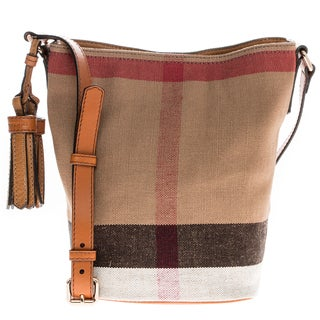 Burberry Small Ashby in Canvas Check and Leather