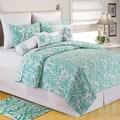 Coral Seafoam Cotton Coastal Quilt