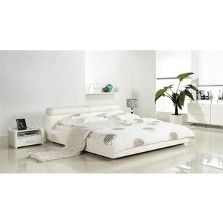 CANNES Collection White leather headboard with eco-leather match rails King Bed by Casabianca Home
