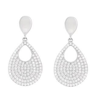 La Preciosa Sterling Silver Cubic Zirconia Teardrop Earrings