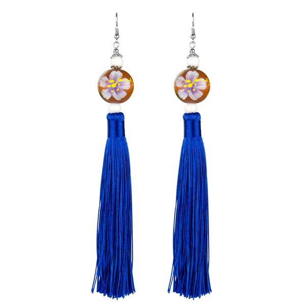 Flower Dangle Tassel Earrings