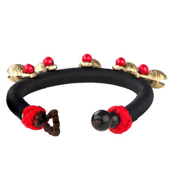 Black Traditional Handmade Dangle Bell Bracelet