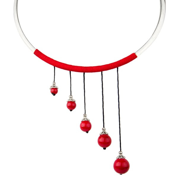 Red Beaded Dangle Choker Necklace