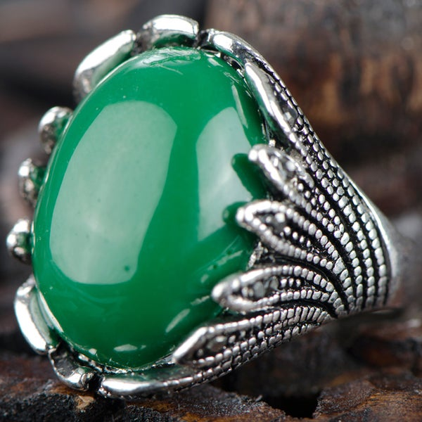 Zinc Alloy Antique Green Cocktail Ring