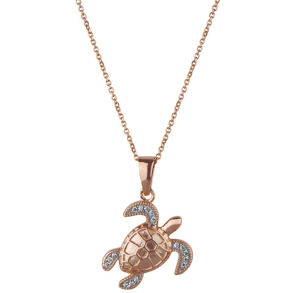 Sterling Silver Rose Gold Plated CZ Turtle Pendant Necklace
