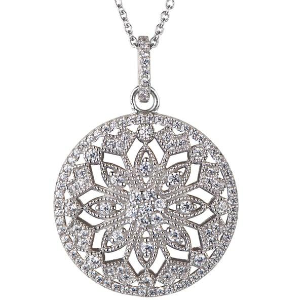 Sterling Silver Art Deco Cubic Zirconia Pendant Necklace