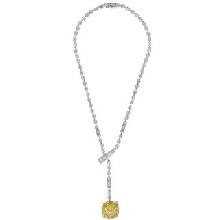 Sterling Silver Fancy Cushion Cut Canary CZ Tennis Necklace