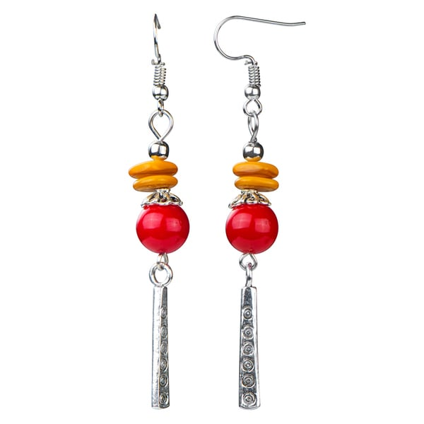 Dangle Red Bead Earrings