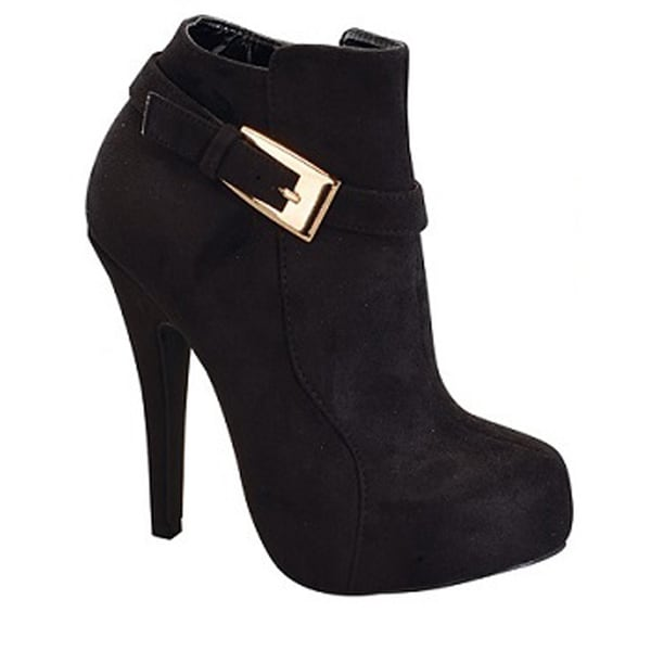 I HEART COLLECTION VANESSA-07 Women's Faux Suede Ankle Bootie With Metal Buckle