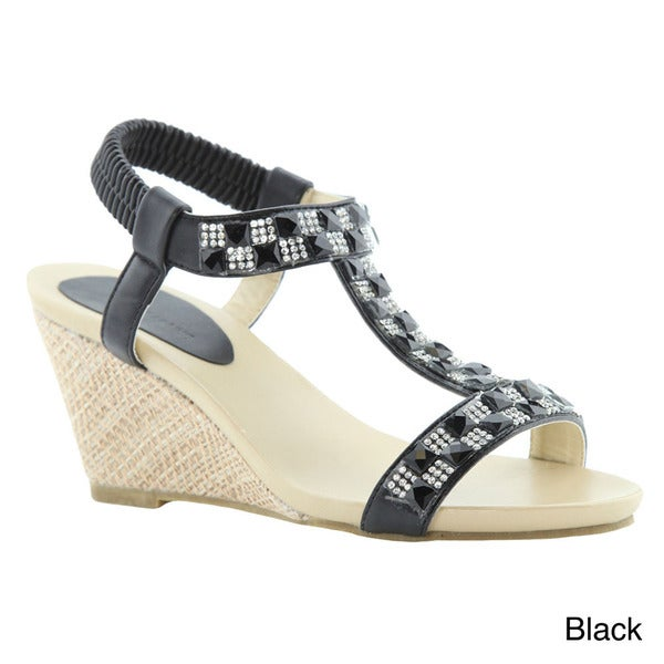 BELLAMARIE JENIFER-2 Women Rhinestone T-Strap Elastic Strap Slip On Wedge Sandal