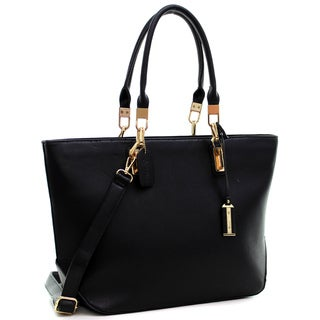 Dasein Buffalo Leather Link Hinges Large Tote Bag