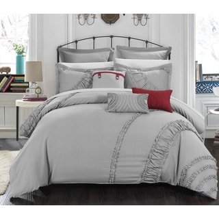 Chic Home 8-piece Dearly Linen Oversized/ Overfilled Silver Comforter Set