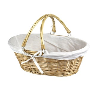 Oval Willow Basket with Double Drop Down Handles