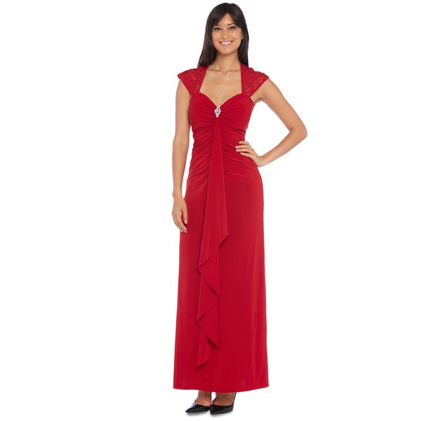 R & M Richards Women's Red Ruched Long Gown