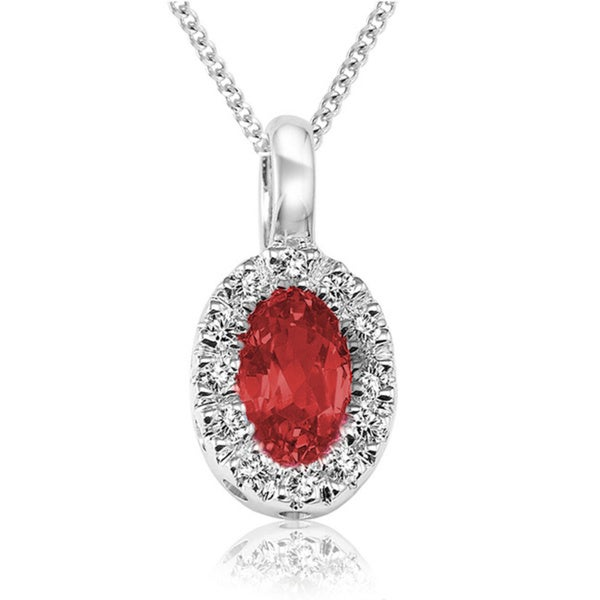 10k White Gold Oval Ruby Diamond Accent Pendant