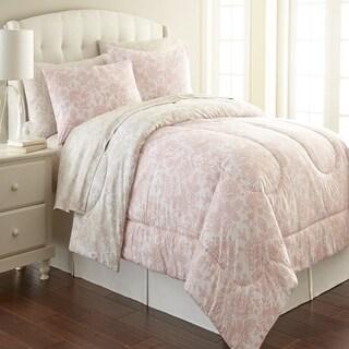 Micro Flannel Enchantement Rose Printed 3-piece Comforter Set