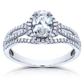 Annello 14k White Gold 1ct TDW Certified Oval Diamond Ring (G, SI1)