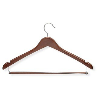Honey Can Do Cherry Contoured Suit Hanger with Locking Bar 6-pack