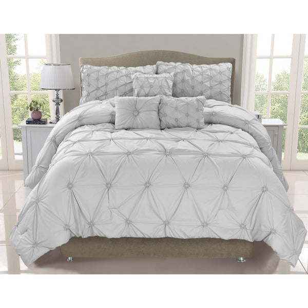 Cosmo Silver Mist Smocked 6-piece Comforter Set ( Queen)(As Is Item)