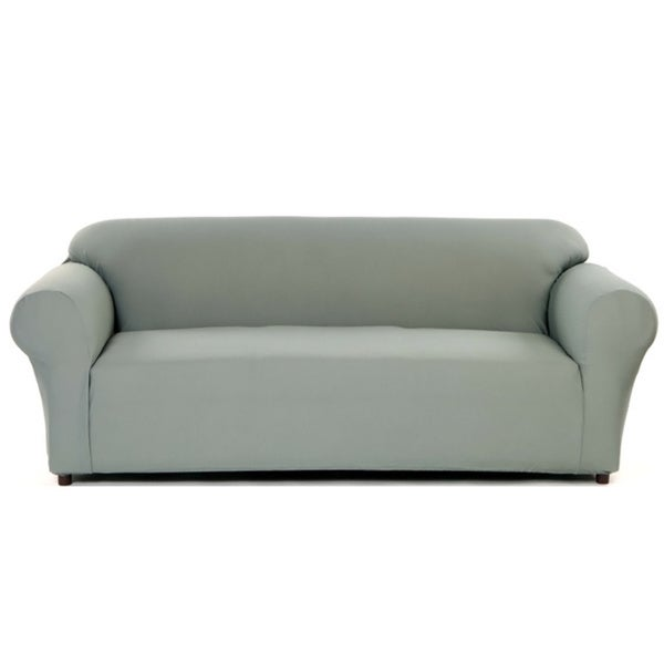Stretch Waffle Loveseat Slipcover (Grey)(As Is Item)