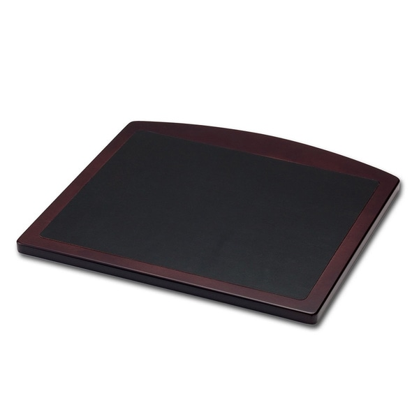 Walnut and Black Leather Mouse Pad