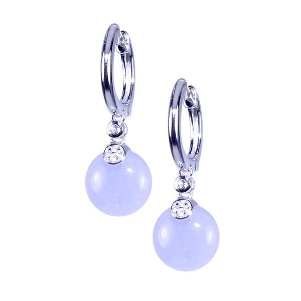 Sterling Silver Blue Chalcedony Hoop Earring