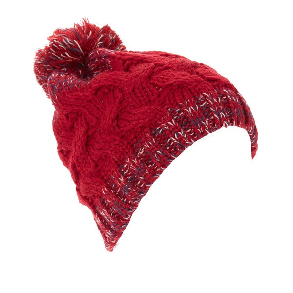 Women's Cable Knit Variegated Trim Pom-Pom Beanie Hat