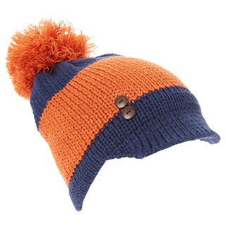 Women's Two-Tone Button-Accent Pom-Pom Visor Beanie Hat