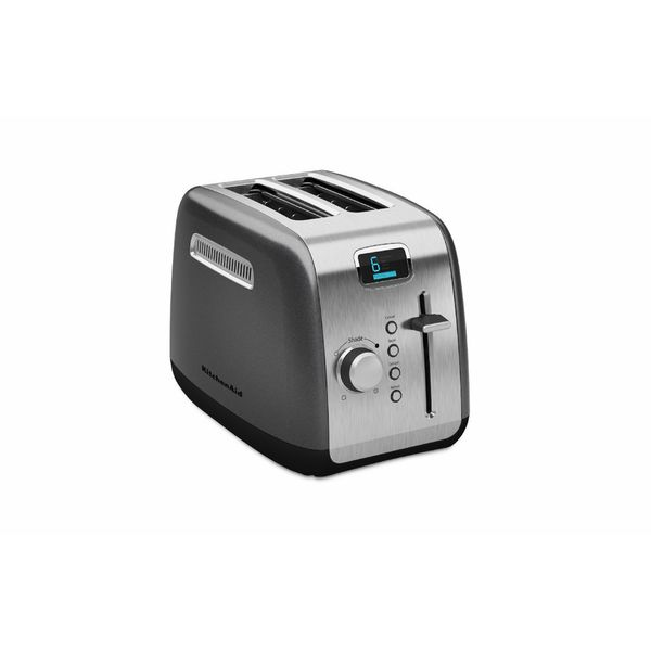 KitchenAid KMT222QG Liquid Graphite 2-slice Toaster with Manual High-Lift Lever and Digital Display