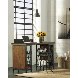 Signature Design by Ashley Shayneville Rustic Brown Home Office Counter Large Desk