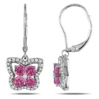 Miadora 14k White Gold 1ct TDW Pink and White Diamond Butterfly Earrings (G-H, I1-I2)