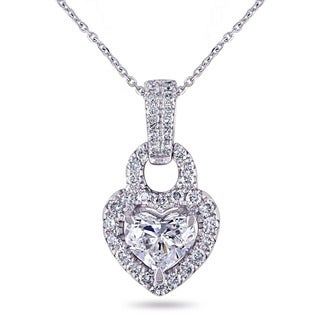 Miadora Signature Collection 14k White Gold 1ct TDW Diamond Heart Halo Drop Necklace (G-H, I1-I2)