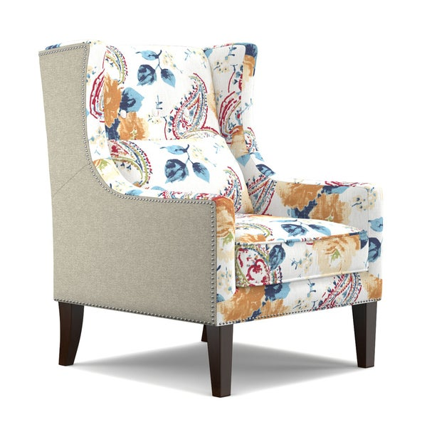 angelo:HOME Isabella Linen and English Garden Watercolor Blue Wing Back Chair