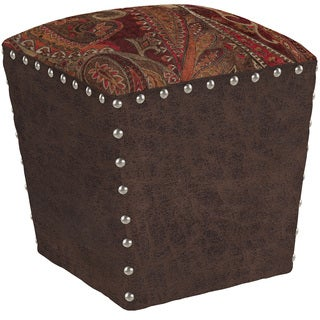 angelo:HOME Easton Soft Velvety Paisley Red Wine Ottoman