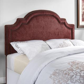 Dorel Living Ella Burgundy Arched Headboard with Nailheads