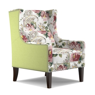 angelo:HOME Isabella Linen and English Garden Watercolor Rose Wing Back Chair