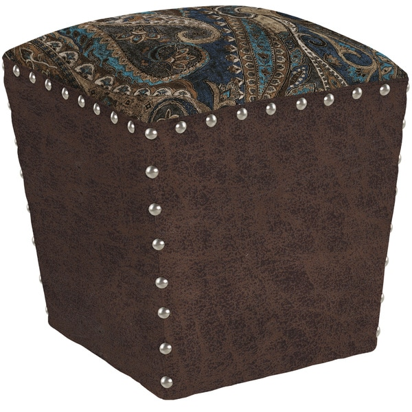 angelo:HOME Easton Soft Velvety Paisley Blue Ottoman