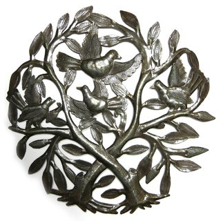 Handcrafted Recycled Steel Drum Birds in Double Tree Wall Art (Haiti)