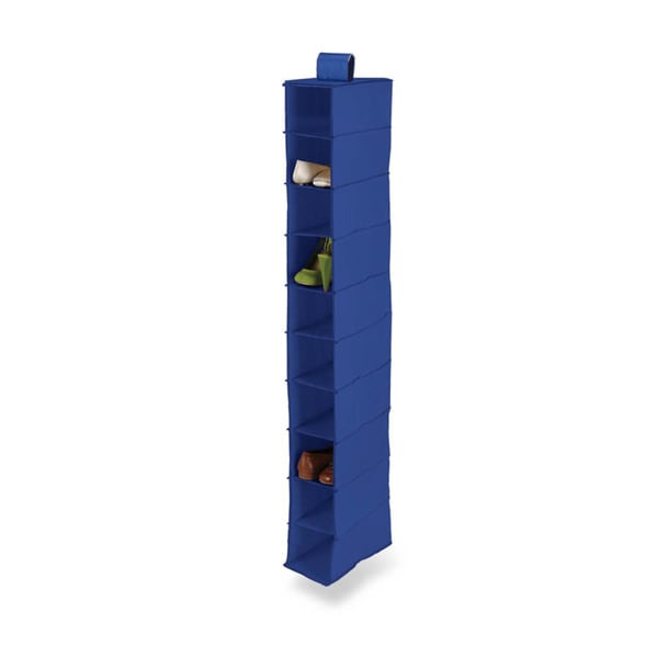 10 shelf hanging shoe organizer, polyester, navy