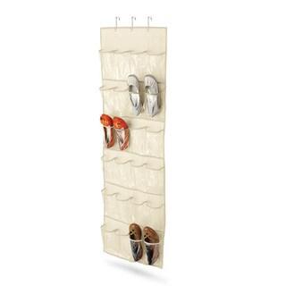 24 pocket over-door shoe organizer, natural tc